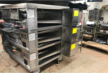 New commercial oven during installation process